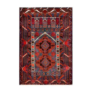 Herat Oriental Afghan Hand-knotted Tribal Balouchi Blue/ Brown Wool Rug (2'11 x 4'3)