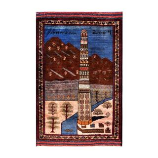 Herat Oriental Afghan Hand-knotted Tribal Balouchi Blue/ Brown Wool Rug (2'10 x 4'5)