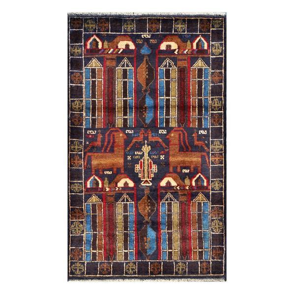 Handmade Herat Oriental Afghan Tribal Balouchi Wool Rug (Afghanistan) - 2'10 x 4'10