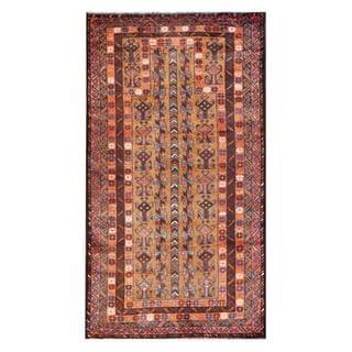 Herat Oriental Afghan Hand-knotted Tribal Balouchi Tan/ Brown Wool Rug (2'9 x 5')