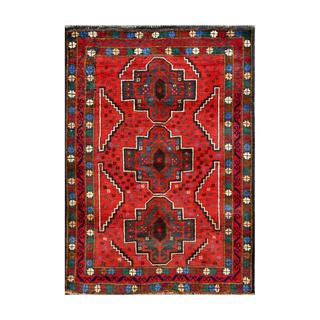 Herat Oriental Afghan Hand-knotted Tribal Balouchi Navy/ Red Wool Rug (2'7 x 3'11)