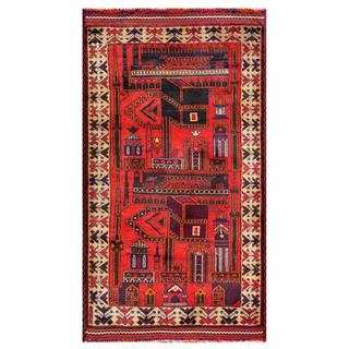 Herat Oriental Afghan Hand-knotted Tribal Balouchi Red/ Beige Wool Rug (2'10 x 5'1)