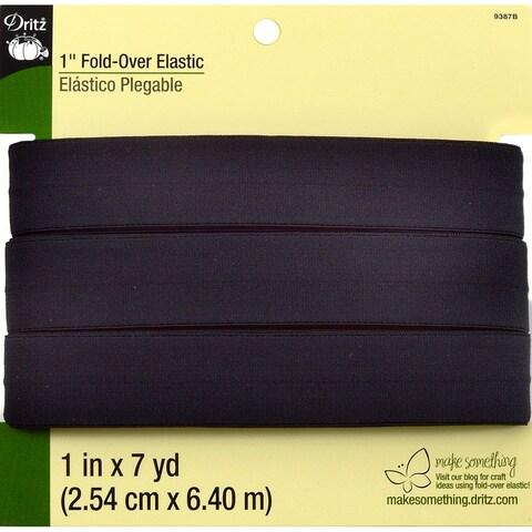 Fold-Over Elastic 1inX7 Yards-Black