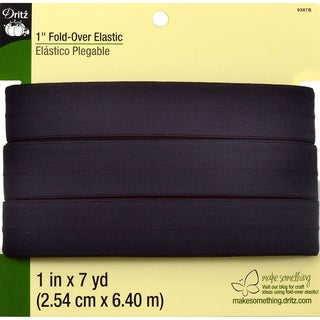 Fold-Over Elastic 1inX7 Yards-Black