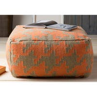 Bryant Hand-crafted Wool Houndstooth 24-inch Large Square Pouf