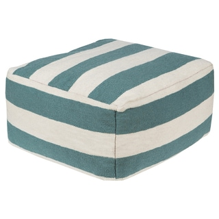 Hand Crafted Tiffany Striped 24-inch Large Square Pouf