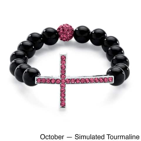 "Genuine Onyx Horizontal Birthstone Cross Beaded Stretch Bracelet in Silvertone 8"" Color Fu"