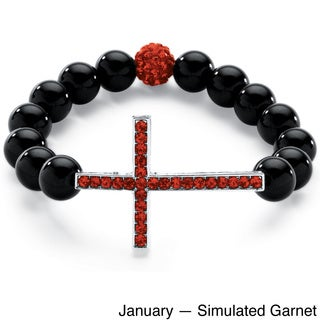 "PalmBeach Genuine Onyx Horizontal Birthstone Cross Beaded Stretch Bracelet in Silvertone 8"" Color Fun"