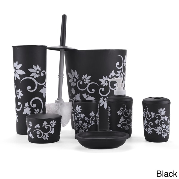 Floral 7 piece bath accessory set free shipping on for Floral bathroom accessories set