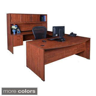 Regency 71-inch Sandia Bow Front Double Pedestal U-desk with Hutch