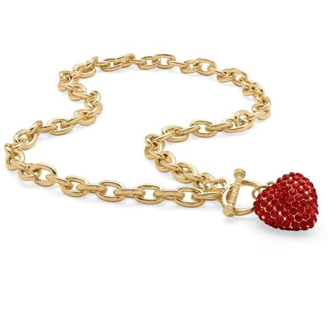 Gold Tone Curb Link with Link Necklace (7mm), Round Simulated Birthstones, 18""