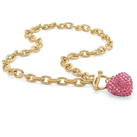 """Gold Tone Curb Link with Link Necklace (7mm), Round Simulated Birthstones, 18"""""""