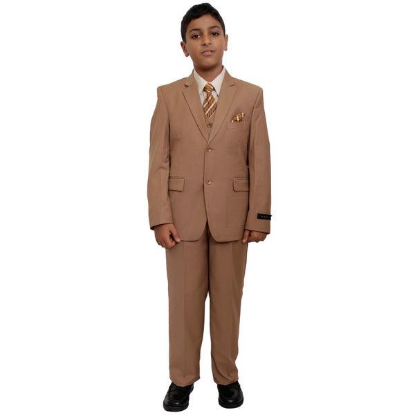 Tazio Boy's Camel 5-piece Suit Set
