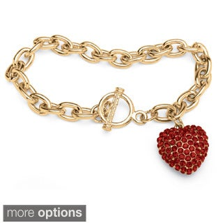 Crystal Heart Charm Birthstone Toggle Bracelet in Yellow Gold Tone Color Fun