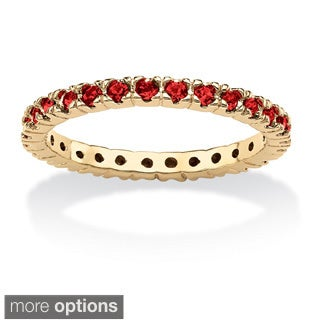 Round Birthstone Gold-Plated Stackable Eternity Band Color Fun