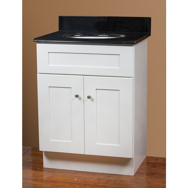 White Vanity and Black Granite Top 24-inch x 18-inch