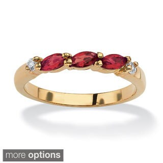 Marquise-Cut Birthstone With Cubic Zirconia Gold-Plated Ring Color Fun (More options available)