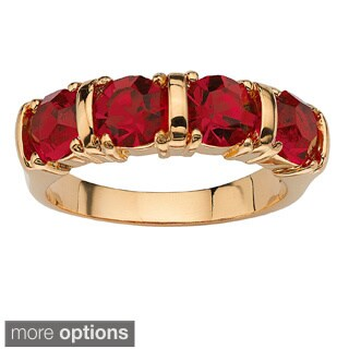 Round Birthstone 18k Gold-Plated Channel Ring Color Fun