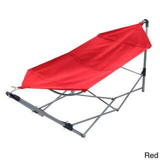 Portable Hammock with Stand-Folds and Fits into Included Carry Bag by Pure Garden