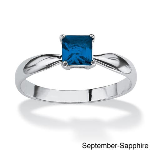Princess-Cut Birthstone Sterling Silver Solo or Stack Ring Color Fun