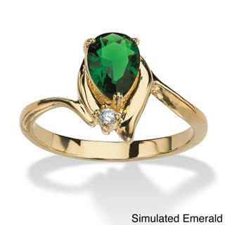 Pear-Cut Birthstone And Crystal Accent Ring Gold-Plated Color Fun (More options available)