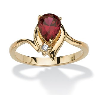 Pear-cut Birthstone and Crystal Accent Ring 18k Gold-plated Color Fun