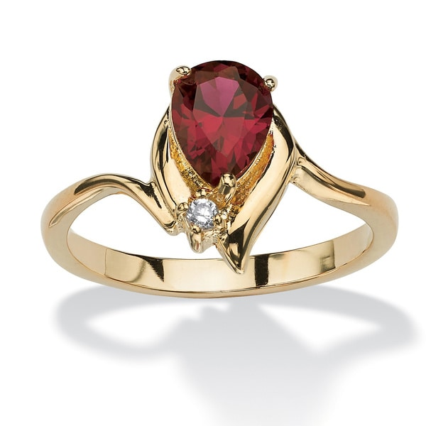Pear-cut Birthstone and Crystal Accent Ring Gold-plated Color Fun. Opens flyout.