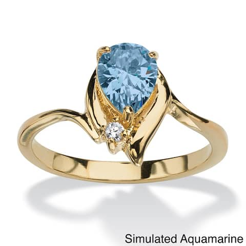 Pear-cut Birthstone and Crystal Accent Ring Gold-plated Color Fun