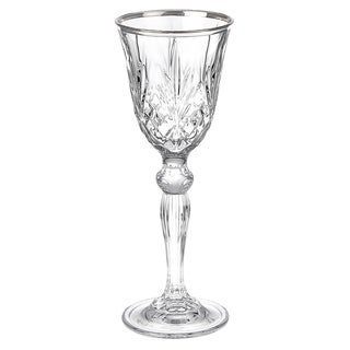Lorren Home Trends Reagan Crystal Cordial Liquor Glass with Silver Band Design (Set of 4)