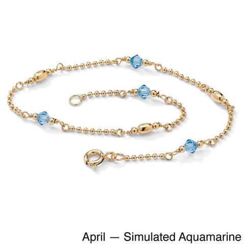 14k Goldplated Sterling Silver Birthstone Crystal Beaded Ankle Bracelet