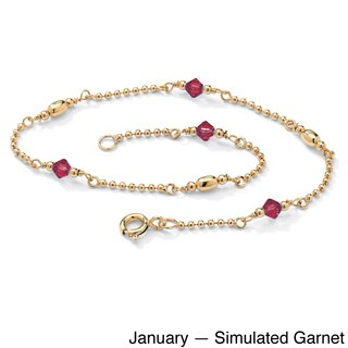 Goldplated Sterling Silver Birthstone Crystal Beaded Ankle Bracelet (More options available)