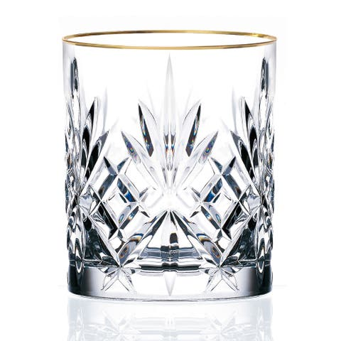 Lorren Home Trends Siena Crystal Double Old Fashion Beverage Glass with Gold Band Design (Set of 4)