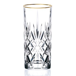 Lorren Home Trends Siena Crystal Glass with Gold Band Design (Set of 4)