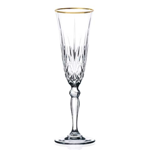 Lorren Home Trends Siena Crystal Flutes with Gold Band Design (Set of 4)