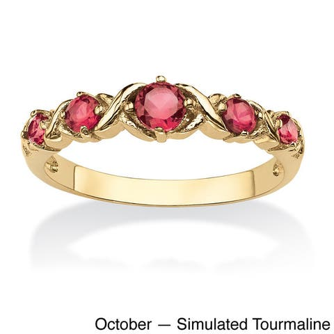 """Round Birthstone Gold-Plated """"X & O"""" Stackable Ring Color Fun"""