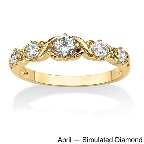"""Round Birthstone 14k Gold-Plated """"X & O"""" Stackable Ring Color Fun"""