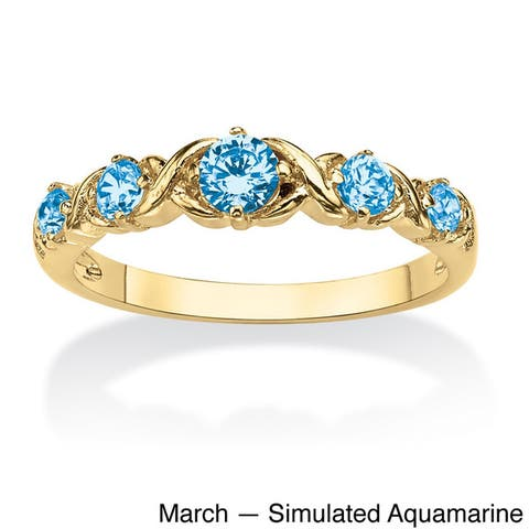 "Round Birthstone Gold-Plated ""X & O"" Stackable Ring Color Fun"