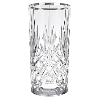 Lorren Home Trends Reagan Crystal Glass with Silver Band Design (Set of 4)