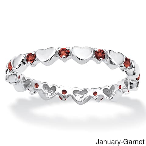 Sterling Silver Color Fun Birthstone Stackable Eternity Heart Ring
