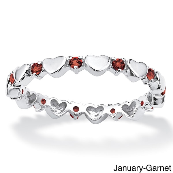 Sterling Silver Color Fun Birthstone Stackable Eternity Heart Ring. Opens flyout.
