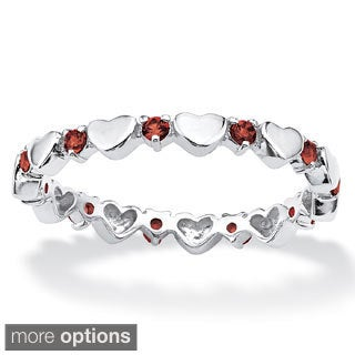 PalmBeach Birthstone Stackable Eternity Heart Ring in .925 Sterling Silver Color Fun