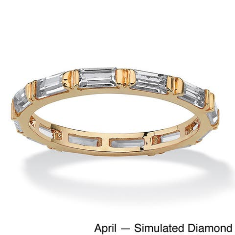 Baguette-Cut Birthstone Eternity Stack Ring Gold-Plated Color Fun