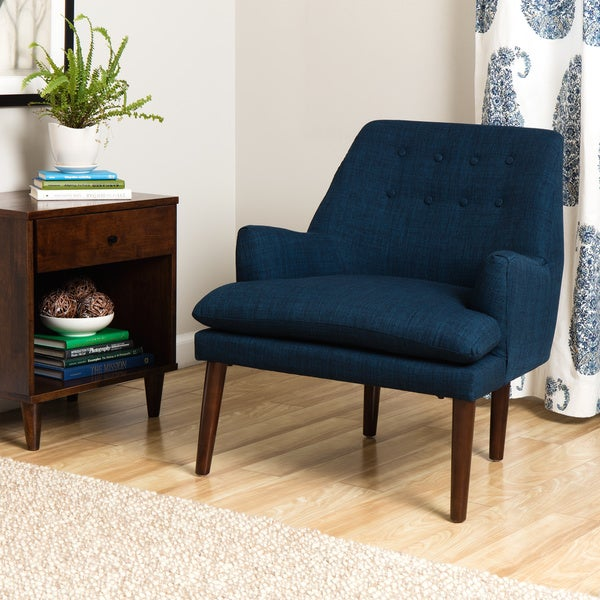 Taylor mid century navy blue tufted accent chair free for Blue living room chairs