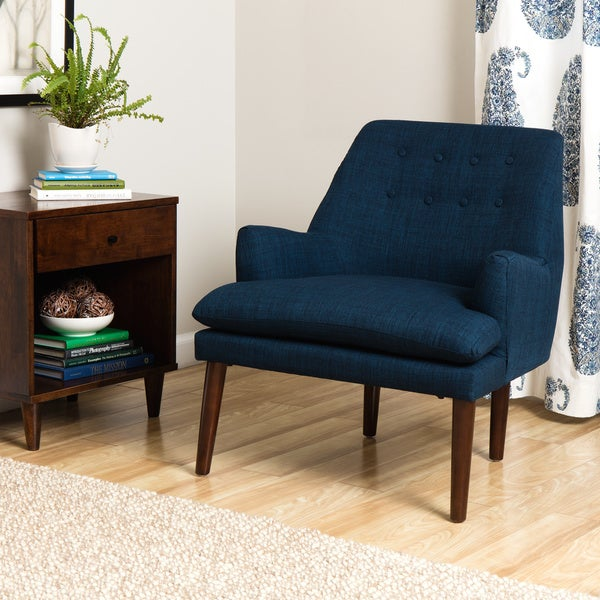 taylor mid century navy blue tufted accent chair free shipping today