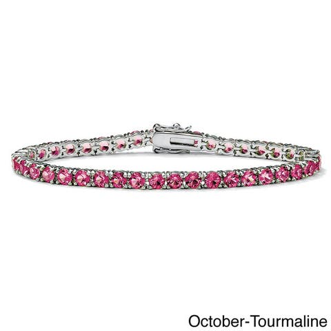 "Round Birthstone Silvertone Tennis Bracelet 7"" Color Fun"