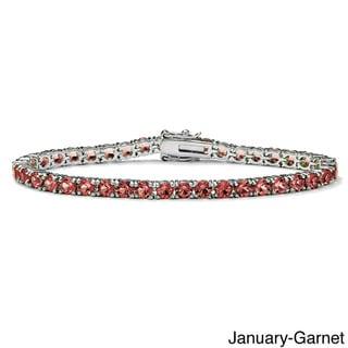 "Link to Round Birthstone Silvertone Tennis Bracelet 7"" Color Fun Similar Items in Birthstone Jewelry"