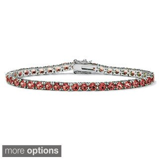 "Round Birthstone Silvertone Tennis Bracelet 7"" Color Fun (Option: February)