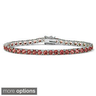 "Round Birthstone Silvertone Tennis Bracelet 7"" Color Fun (Option: White)
