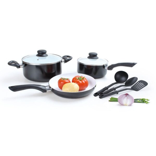 Alpine cuisine black 8 piece cookware set free shipping for Alpine cuisine cookware reviews