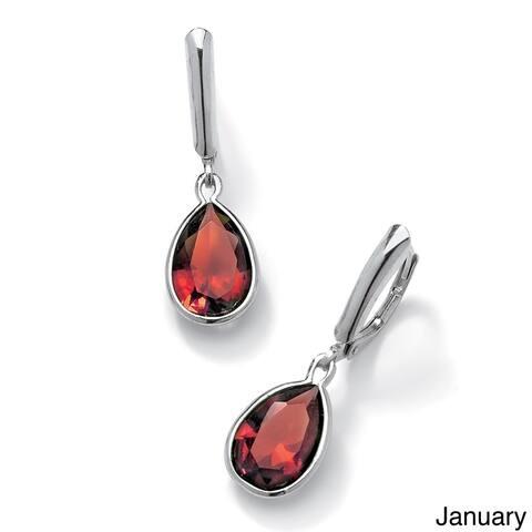 Pear-Cut Birthstone Drop Earrings in Sterling Silver Color Fun